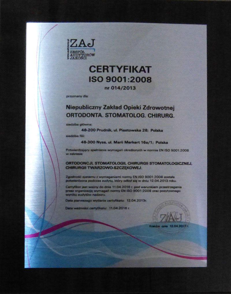 Certyfikat ISO Ortodonta Stomatolog chirurg NYSA PRUDUNIK
